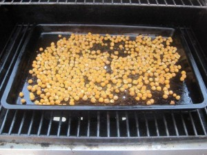 Chickpeas being roasted on the grill instead of the oven.